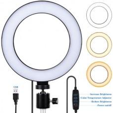 Φωτιστικό δαχτυλίδι USB LED 16 cm με dimmer και τρίποδο