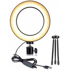 Photographic LED ring with dimmer and tripod USB