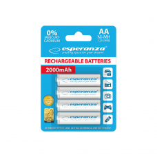 ESPERANZA BATTERIES Ni-MH (AA)   RECHARGEABLE WHITE  4 PIECES