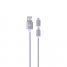 MTK 2IN 1 1Μ MICRO USB CABLE + IPHONE AU405 SILVER