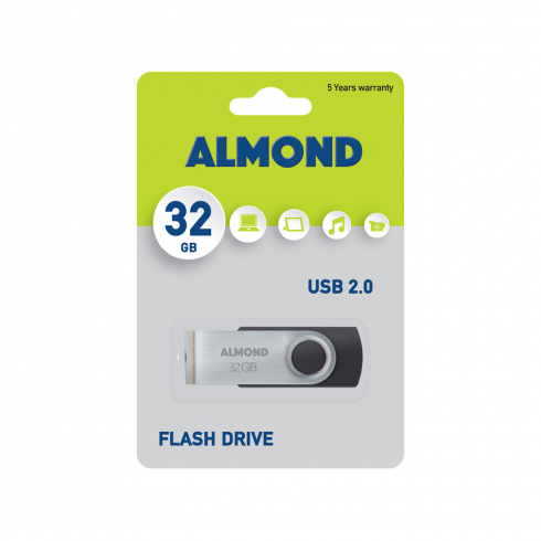 ALMOND FLASH DRIVE USB 32GB TWISTER BLACK