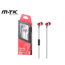 EARPHONES WITH MICROPHONE MTK STEREO - RED