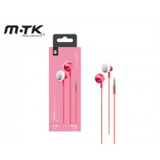 EARPHONES WITH MICROPHONE MTK METAL STEREO - RED
