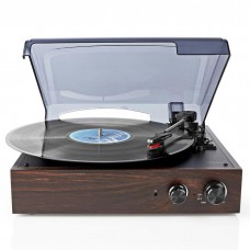 TURNTABLE, 18 W, PC CONVERSION, DUST COVER, BROWN