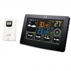 """WI-FI WEATHER STATION, WITH WIRELESS OUTDOOR SENSOR, COLOR 7.3"""" LCD DISPLAY AND CLOCK/ALARM"""