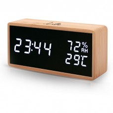 BAMBOO DIGITAL INDOOR THERMOMETER/HYGROMETER WITH CLOCK, ALARM AND CALENDAR