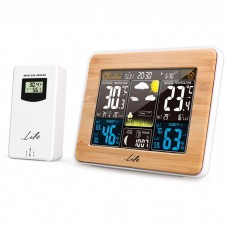"""BAMBOO WEATHER STATION, WITH WIRELESS OUTDOOR SENSOR, COLOR 5.7"""" LCD DISPLAY AND CLOCK / ALARM"""
