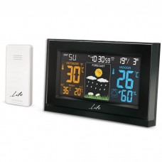 """CURVED DESIGN WEATHER STATION, WITH WIRELESS OUTDOOR SENSOR, COLOR 5.5"""" LCD DISPLAY AND CLOCK / ALARM"""