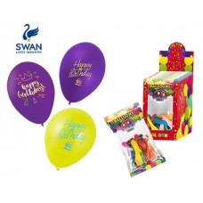 SWAN HAPPY BIRTHDAY BALOONS - 12 PIECES