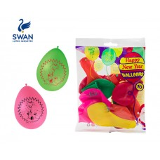 SWAN HAPPY NEW YEAR BALOONS 30cm 10 PIECES
