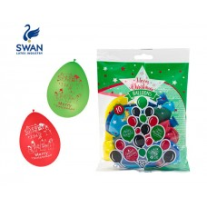 SWAN MERRY CHRISTMAS BALOONS 30cm 10 PIECES