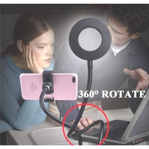 2 σε 1 εύκαμπτο φωτιστικό LED και βάση κινητού τηλεφώνου γραφείου με κλιπ USB - 03004LVR50CL