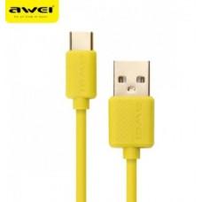 AWEI Καλώδιο φόρτισης και μεταφοράς δεδομένων  ΤYPE C USB CL-89
