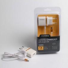 Φορτιστής ταξιδίου με ενσωματωμένο καλώδιο και μία θύρα USB