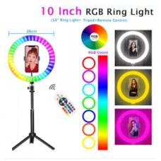 Φωτιστικό δαχτυλίδι LED RGB 26 cm με χειριστήριο, βάση κινητού και μεγάλο τρίποδο