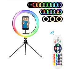 Φωτιστικό δαχτυλίδι LED RGB 26 cm με χειριστήριο, βάση κινητού και μικρό τρίποδο
