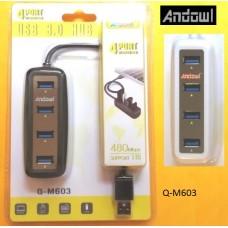 4 θύρες USB 3.0 HUB Q-M603 ANDOWL