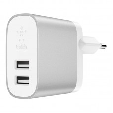 DUAL Wall Charger UNIVERSAL,  2 USB Port 2x2.4Amp, 24W, Silver