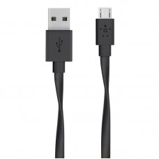 FLAT SYNC/CHARGE CABLE,2.4A,MICROUSB,1.8m,BLACK